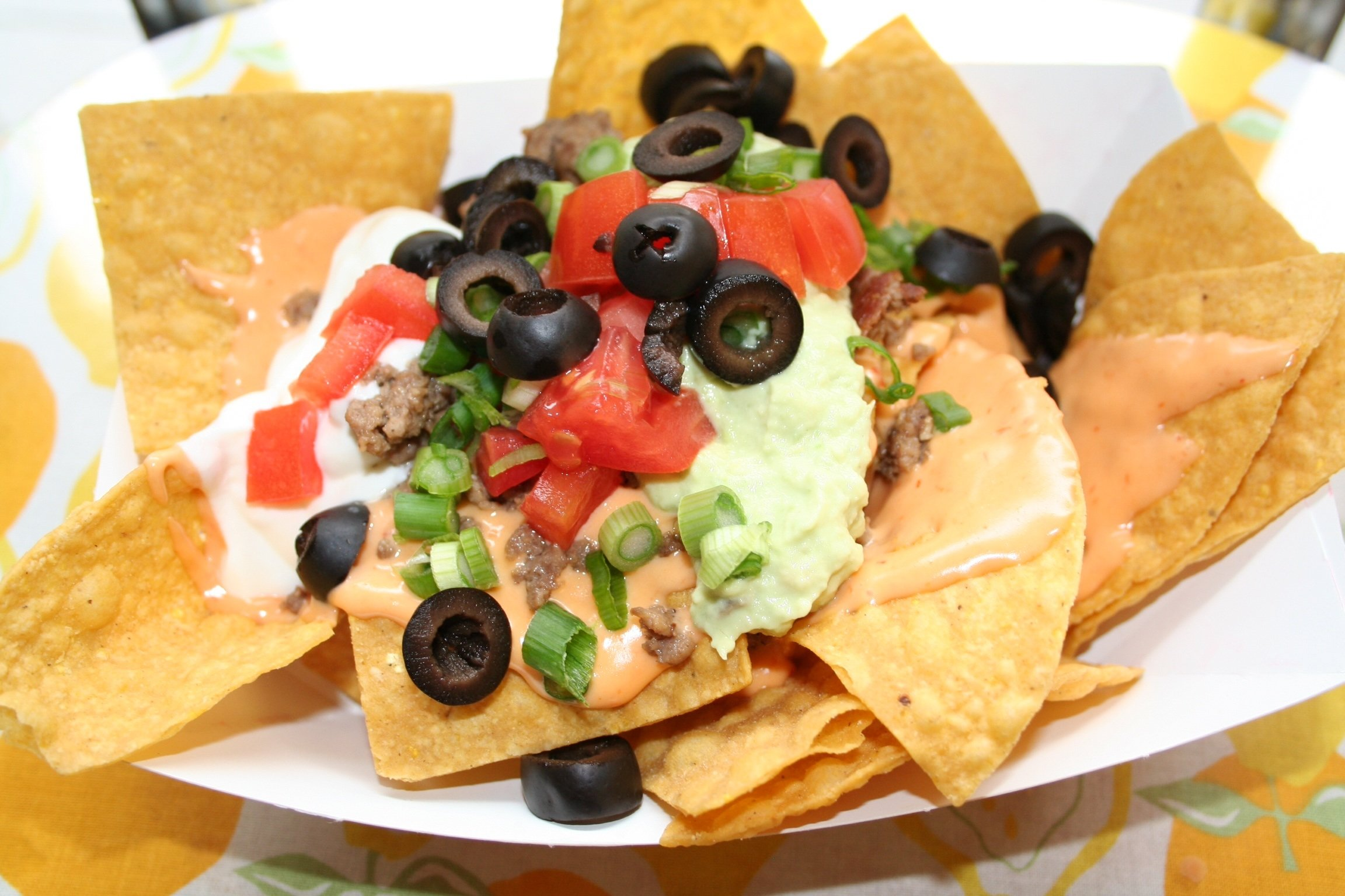 Nachos with toppings in a paper bowl