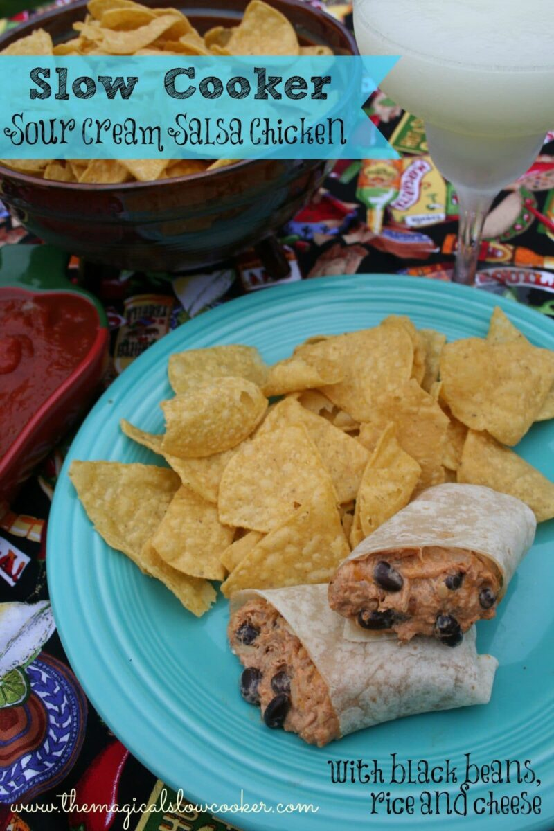 Chicken burrito with chips on the side on a teal plate