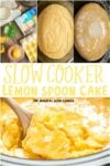 Collage of lemon spoon cake photos for pinterest