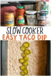 collage of taco dip images for pinterest