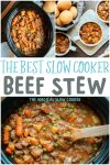 3 photo collage of slow cooker beef stew, image for pinterest
