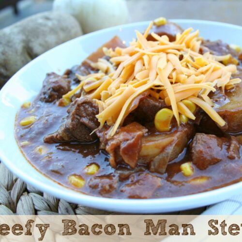 Beefy Bacon Man Stew in white bowl