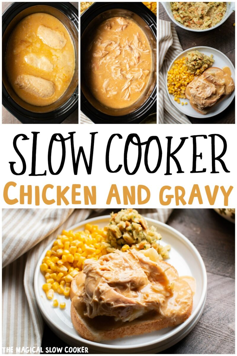 collage of chicken and gravy images for pinterest