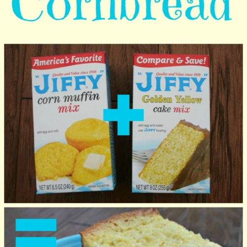jiffy corn bread mix, yellow cake mix and piece of cornbread on plate