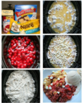 6 photo collage about how to make cherry dump cake in slow cooker