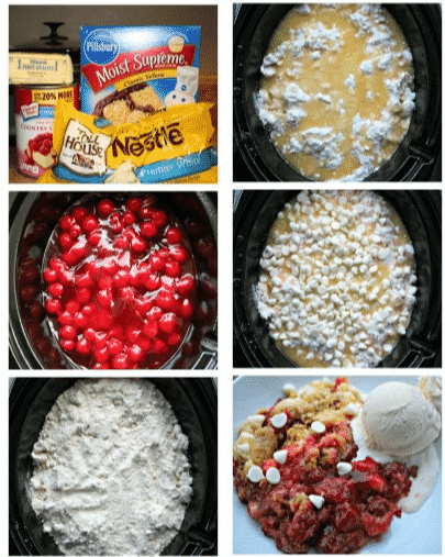 Six picture collage about how to make cherry dump cake in the slow cooker.