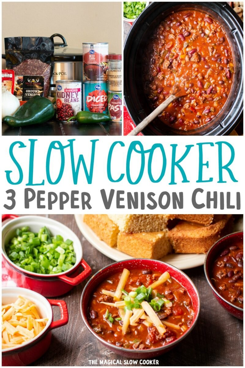 collage of venison chili images for pinterst