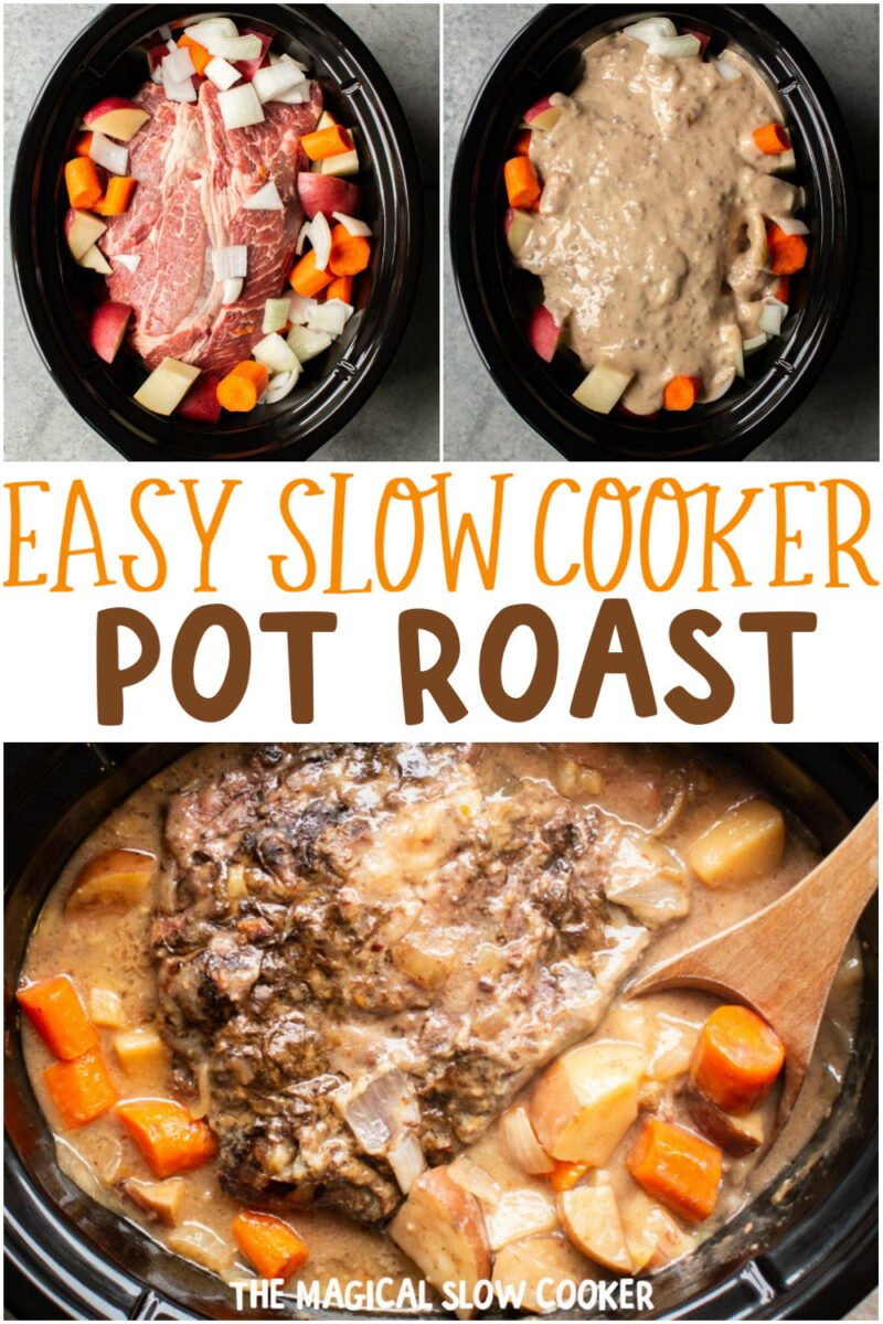 collage of photos of pot roasti n a slow cooker. Text overlay that says: Easy Slow Cooker Pot Roast.