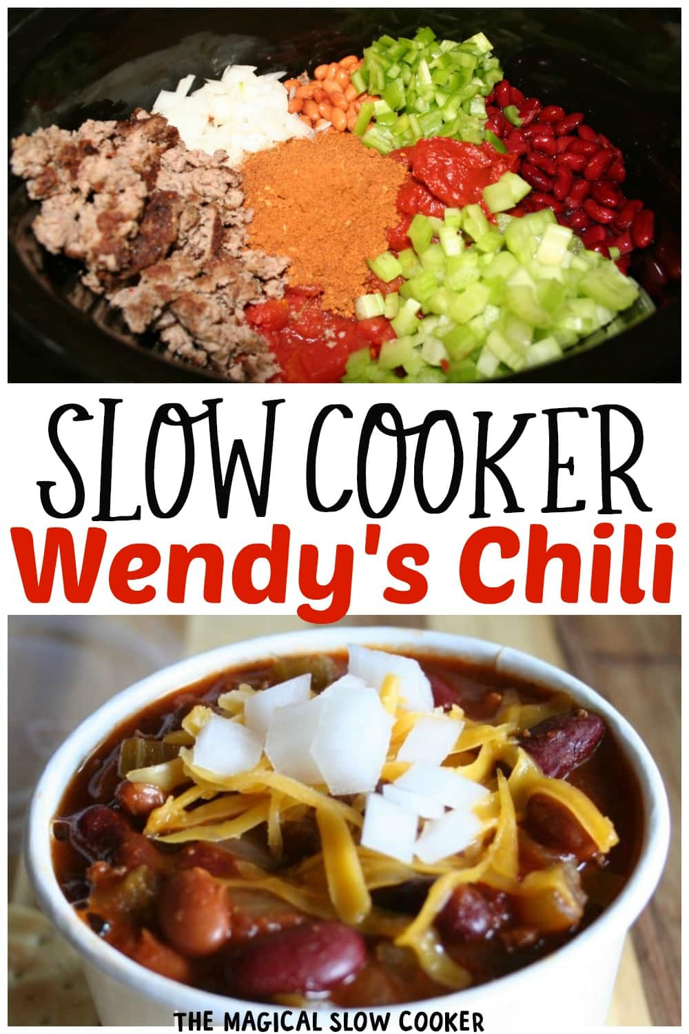 2 photo collage about how to make wendy's chili.