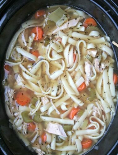Turkey noodle soup in crockpot done cooking