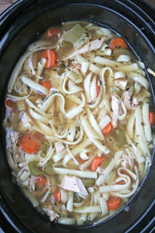 Turkey noodle soup in slow cooker all done cooking.