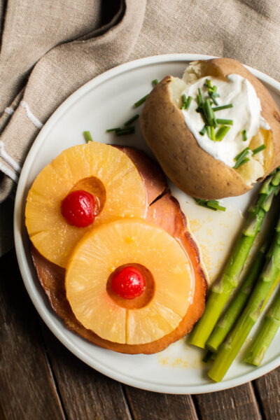 Slow Cooker Ham Steak and Pineapple Rings