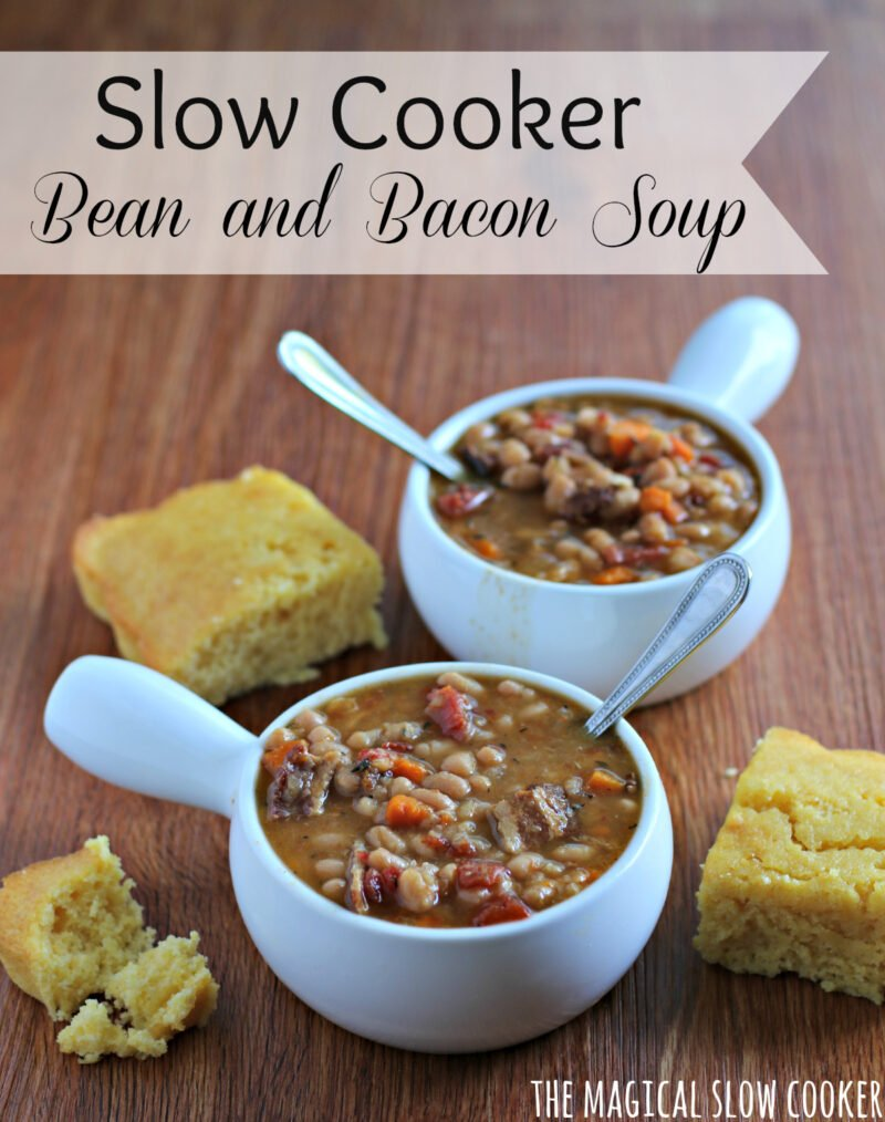 2 bowls of bean and bacon soup with corn bead on side