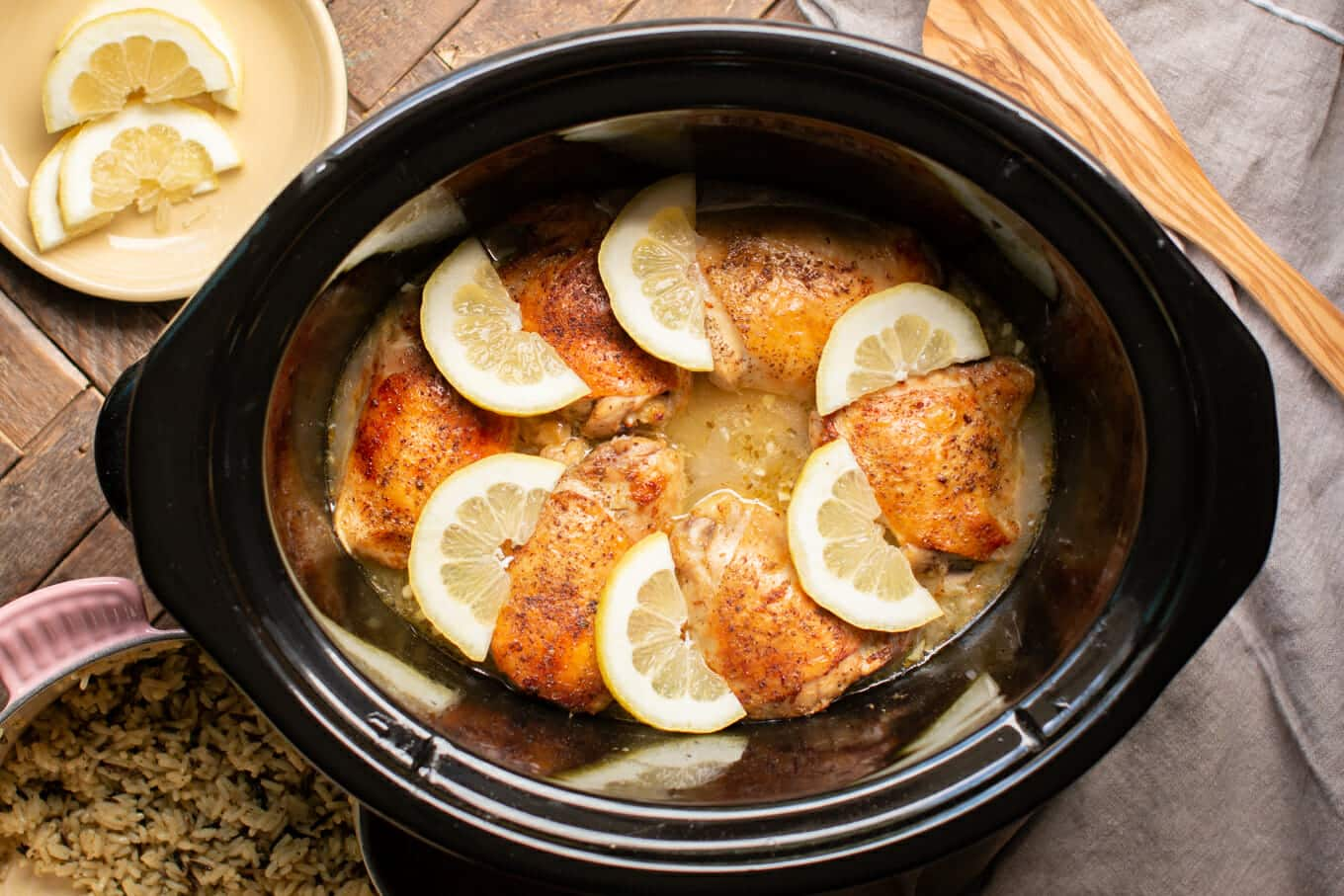 Slow Cooker Lemon Chicken Thighs