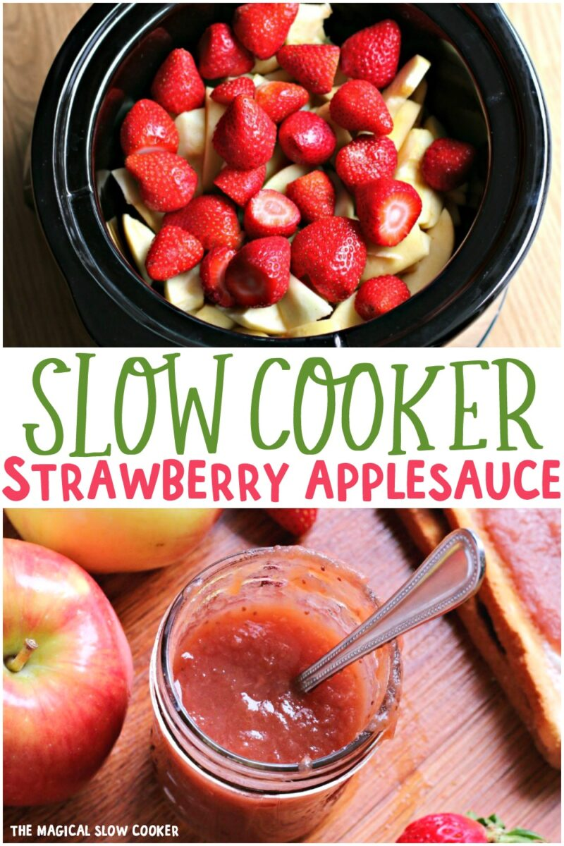 2 photo collage of strawberry applesauce for pinterest