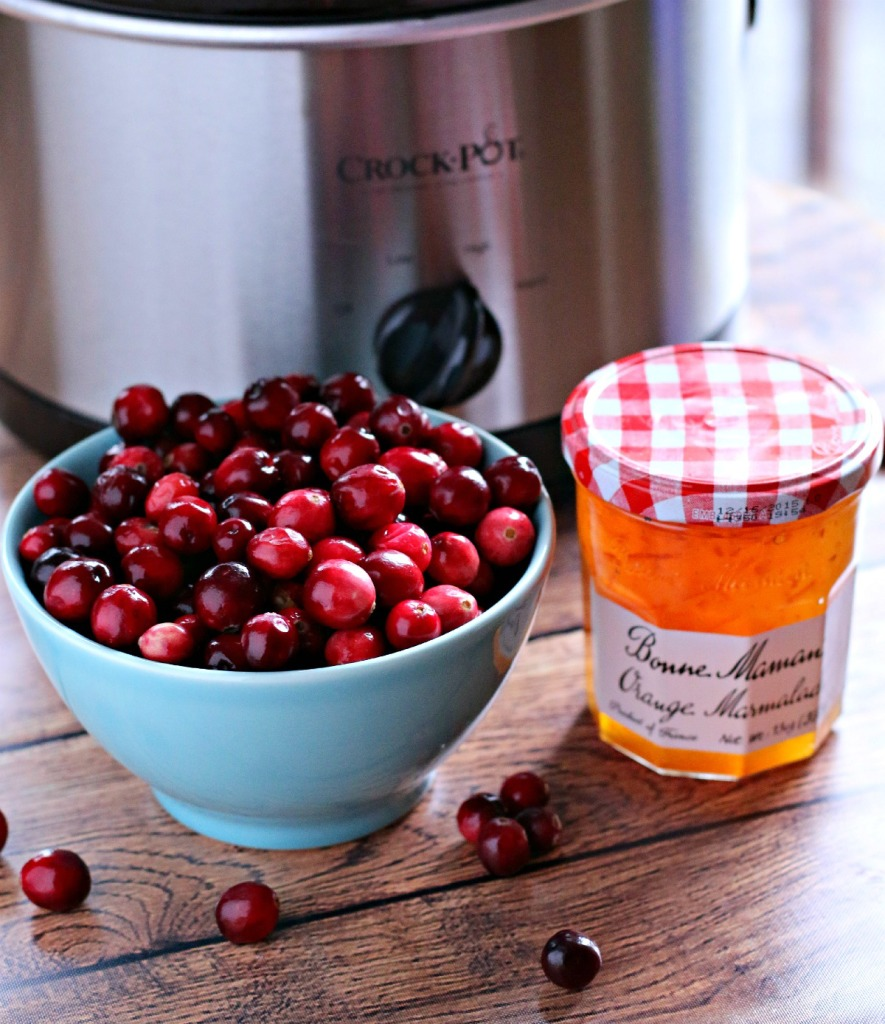 cranberries and orange marmalade in front of a slow cooker.