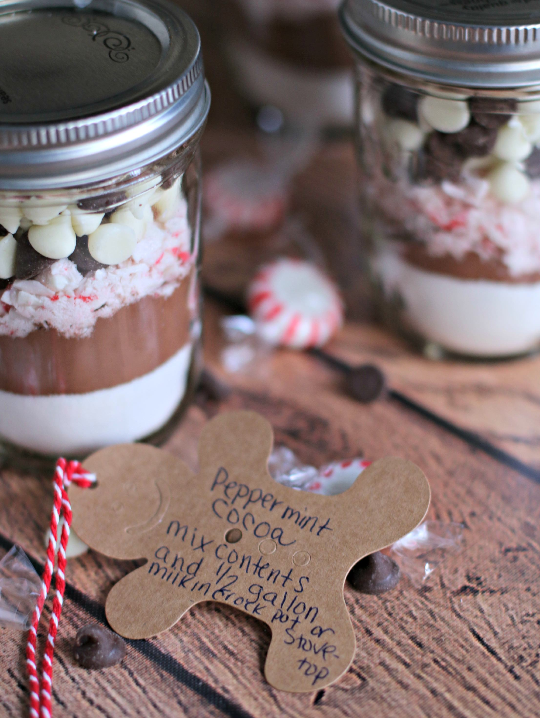 Labels for how to make hot cocoa mix from jar