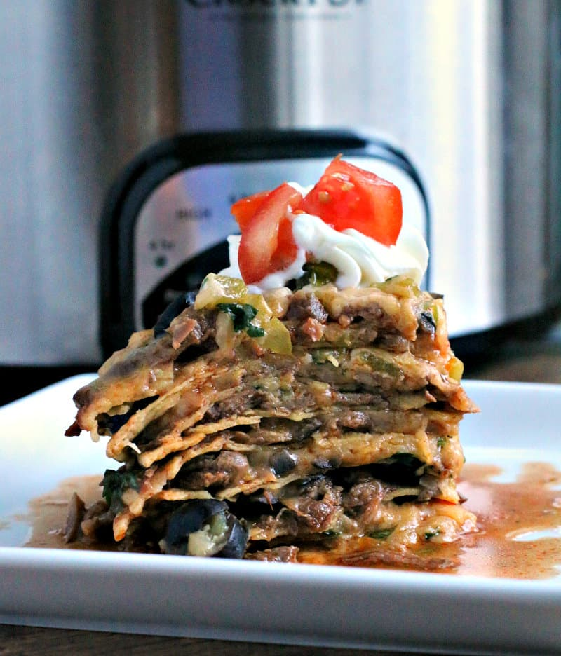 1 piece of shredded beef tortilla stack on plate