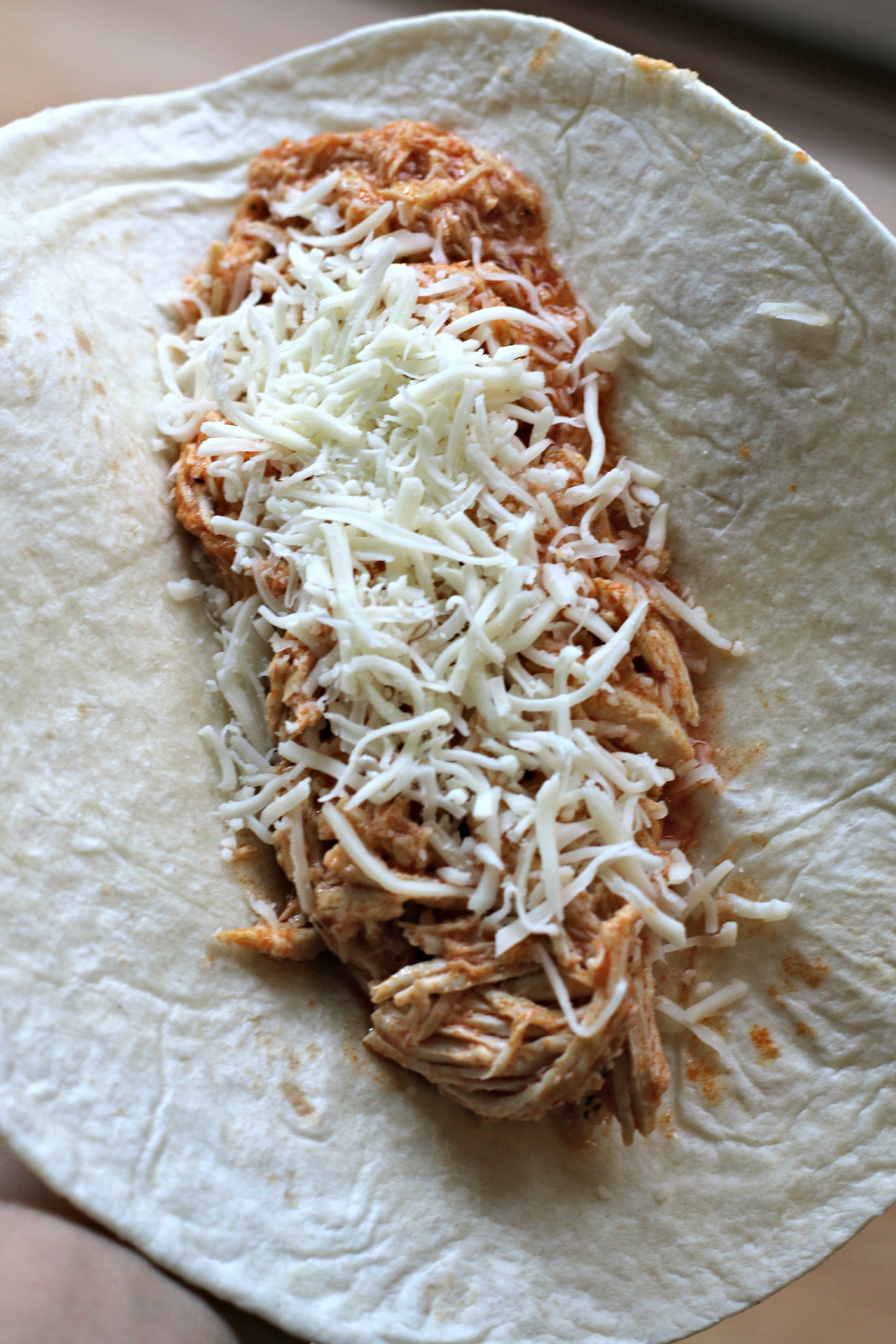 tortilla with buffalo chicken and cheese