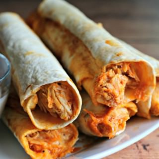 stack of buffalo chicken flautas