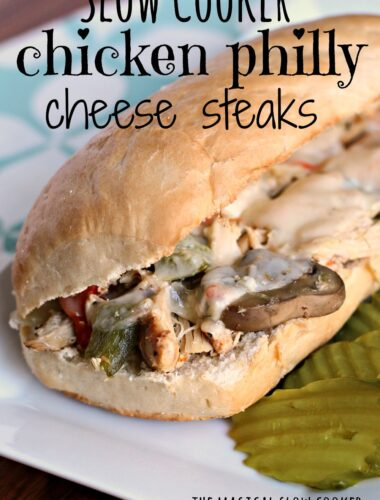 chicken philly sandwich on white plate