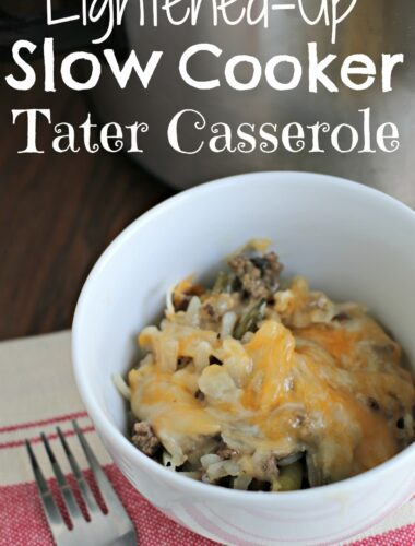 bowl of lightened up tater casserole in white bowl for pinterest
