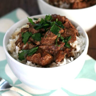 Slow Cooker Beef Tips over Ric