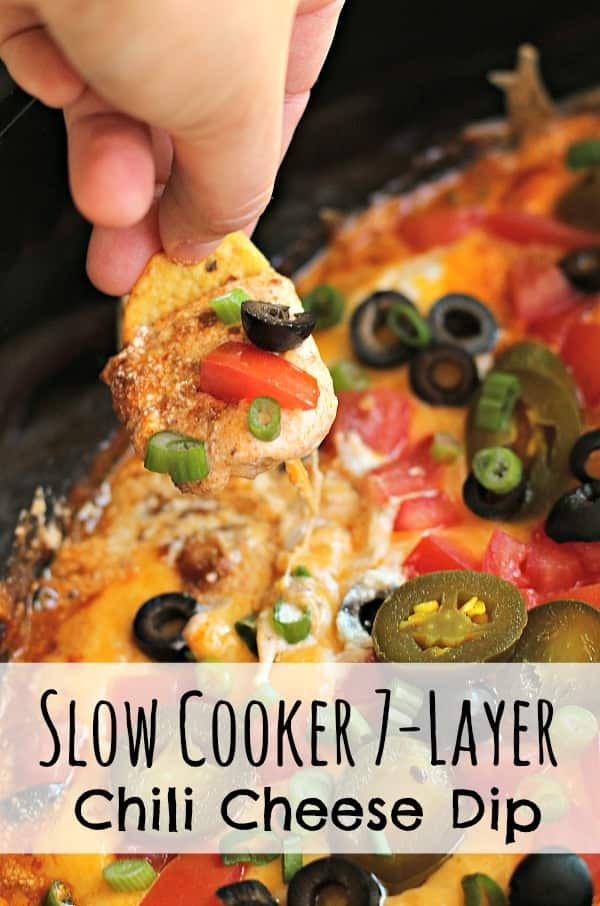 Slow Cooker 7-Layer Chili Cheese Dip