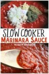 2 photos of marinara sauce in a collage for pinterest