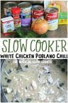 collage of white chicken chili photos for pinterest