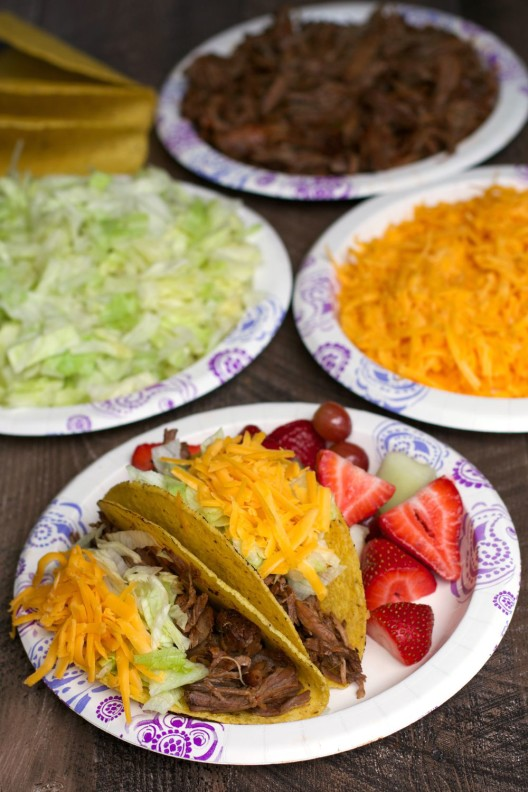 Easy Slow Cooker Shredded Beef Taco Bar - The Magical Slow Cooker