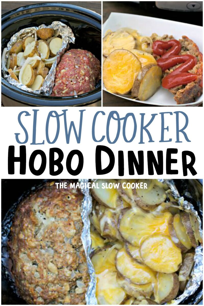 collage of photos on how to make hobo dinner in slow cooker for pinterest