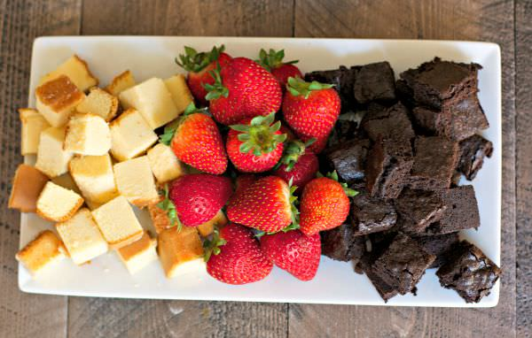 Pound cake, strawberries and brownies.