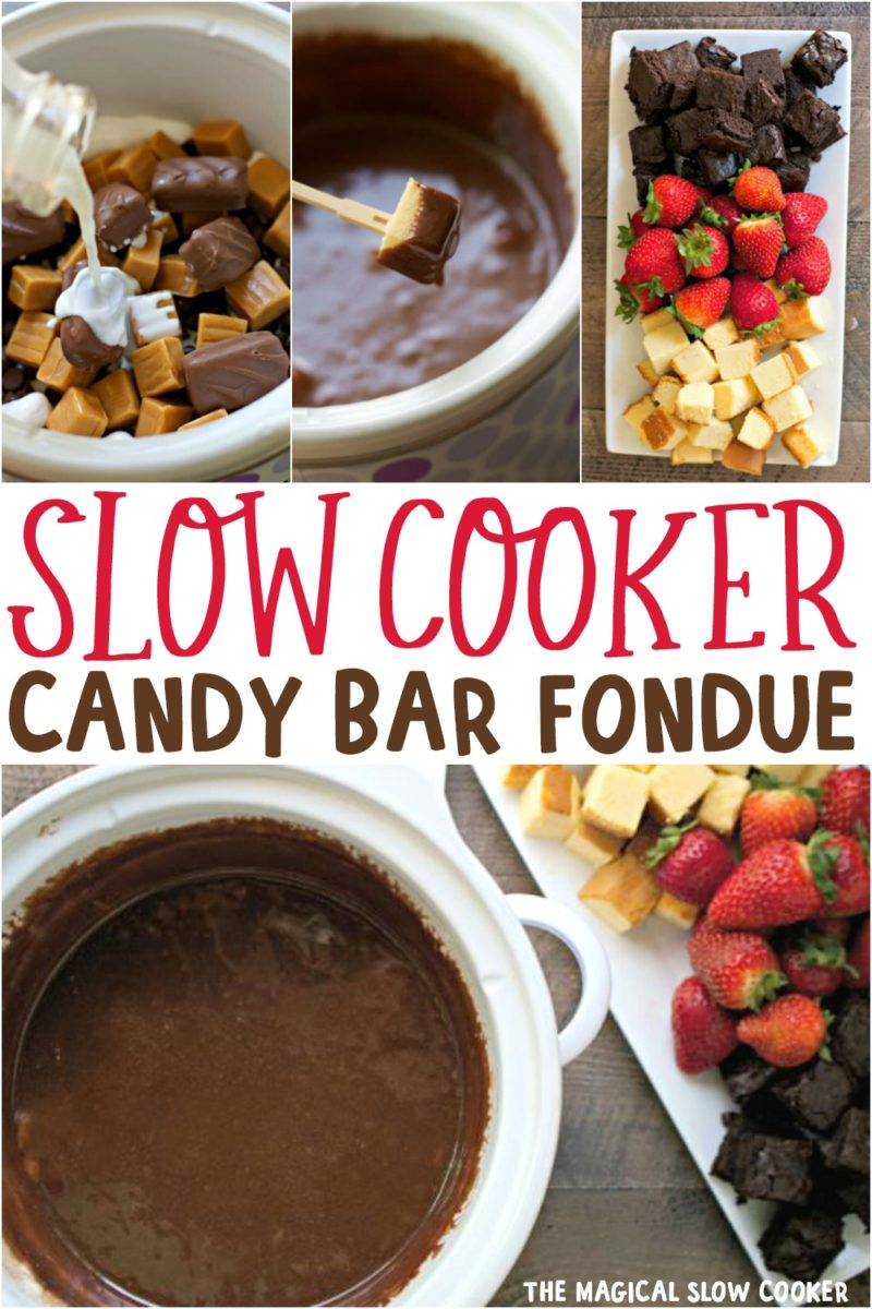 candy bar fondue collage for pinterest