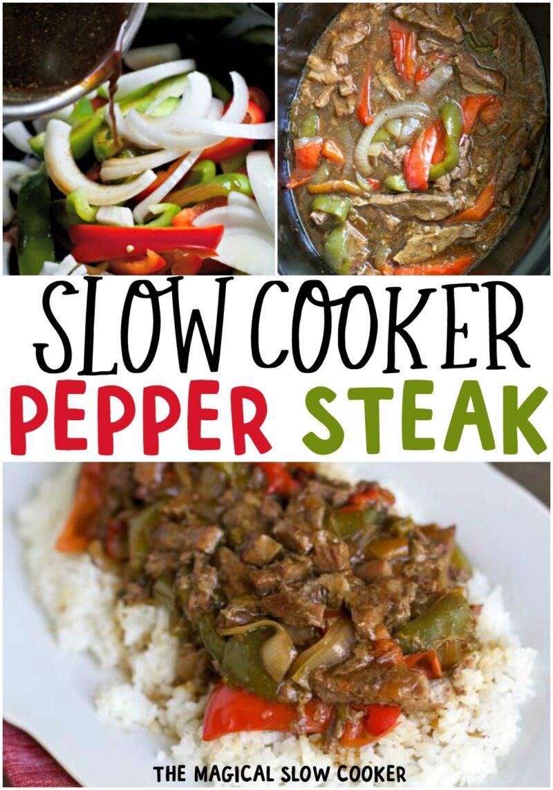 collage of pepper steak for pinterest