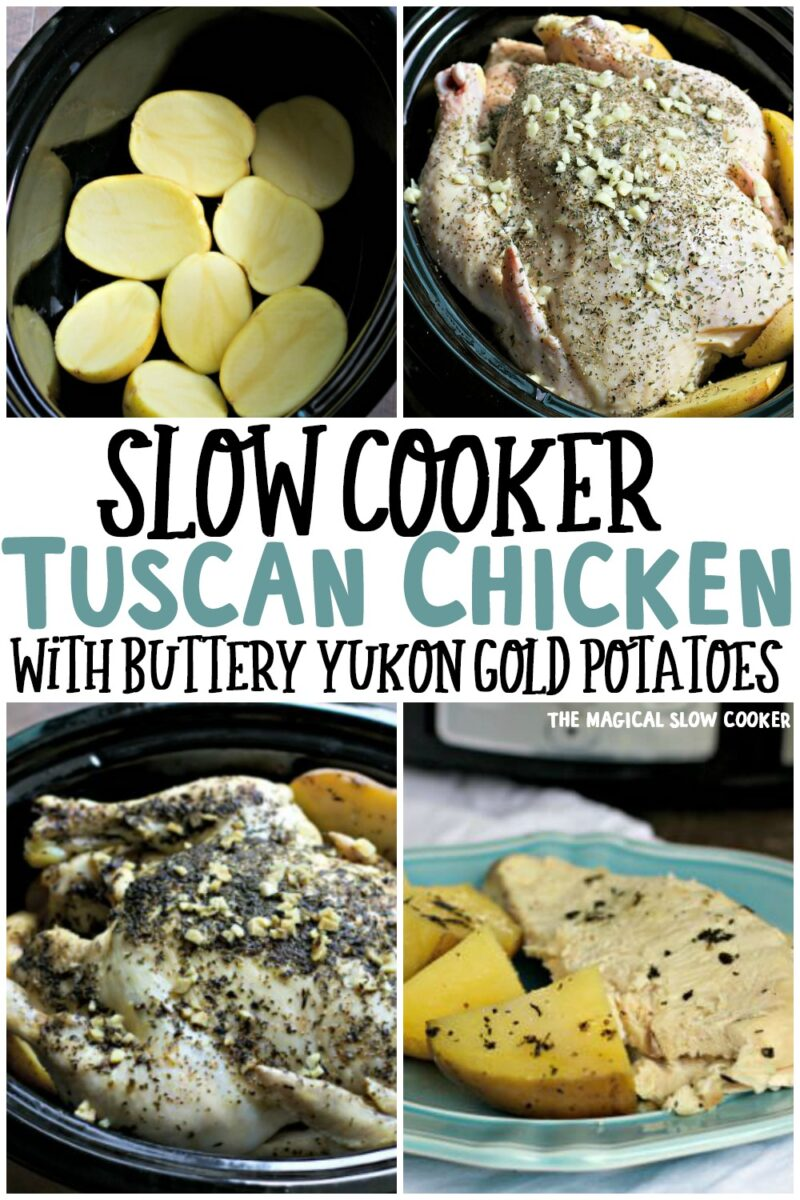 collage of 4 photos of tuscan chicken for pinterest