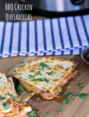pieces of bbq chicken quesadillas on cutting board