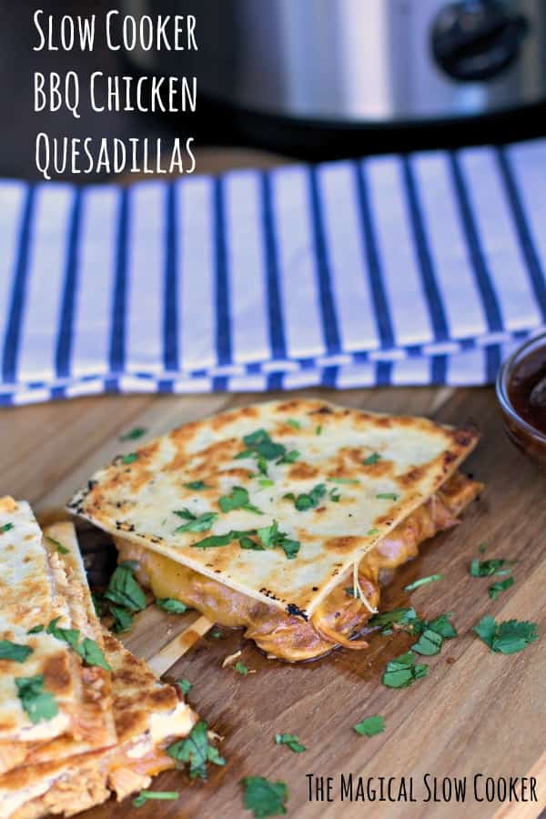 cut barbecue chicken quesadillas on a cutting board