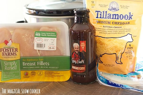 chicken breasts, barbecue and cheddar cheese.