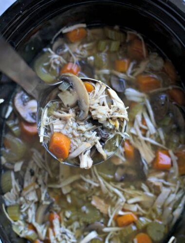 Ladle scooping turkey soup from a slow cooker.