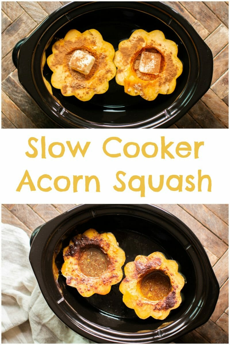 collage of acorn squash for pinterest