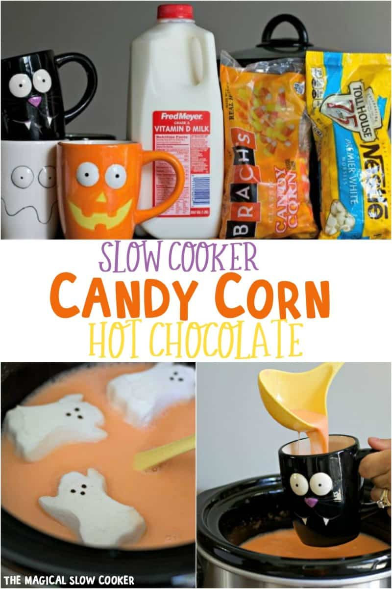 collage of candy corn hot chocolate for pinterest