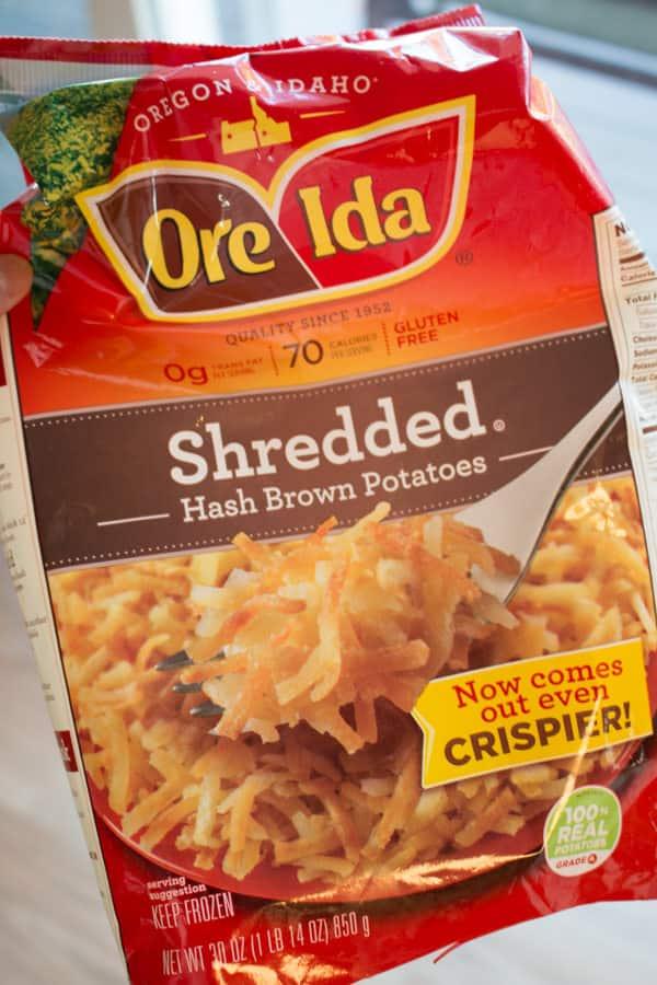 Bag of frozen Ore Ida hashbrowns