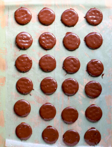 ritz thin mints lined up on wax paper