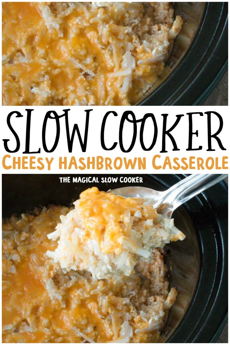collage of cheesy hashbrown casserole for pinterest