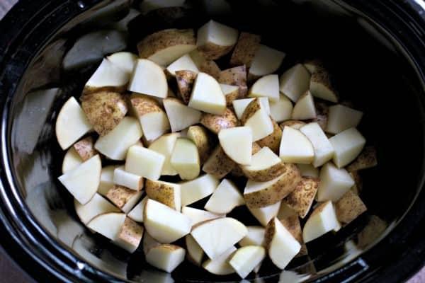 diced russet potatoes in crockpot