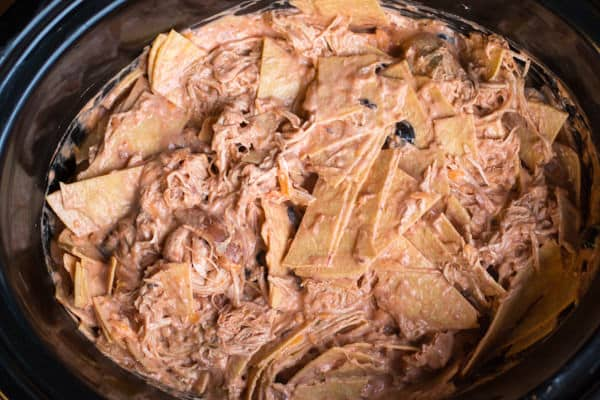 Mixed together tortillas, shredded chicken and sauce in slow cooker.
