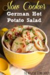 Photo of bowl of German potato salad with text overlay for pinterest