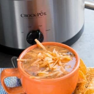 Slow Cooker Chicken Enchilada Soup {Freezer Meal Friendly}