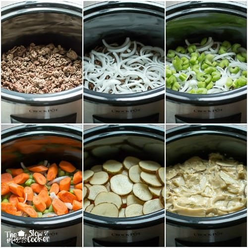 6 photo collage of steps to make six layer dinner in slow cooker